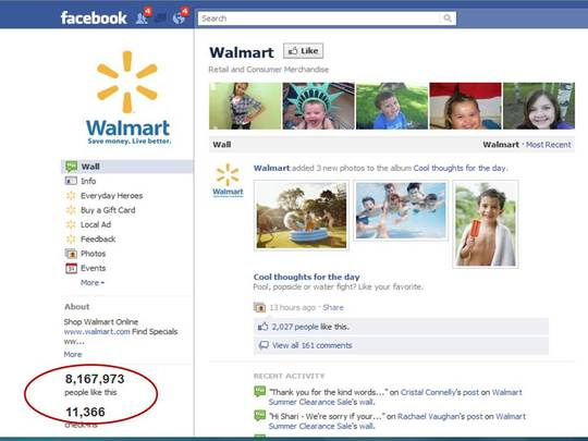 What is the ROI of Walmart's Facebook page? A lot by many measures