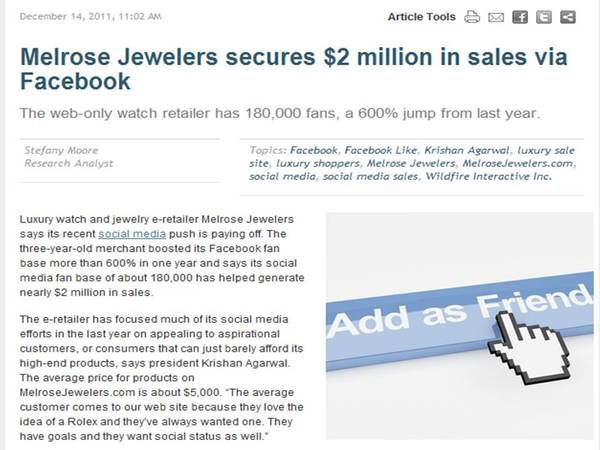 Melrose Jewelers facebook promotion
