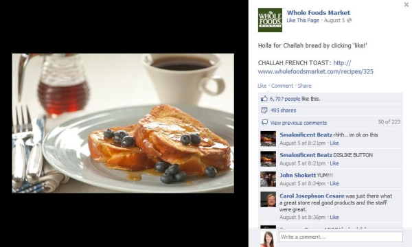Whole Foods - social media engagement